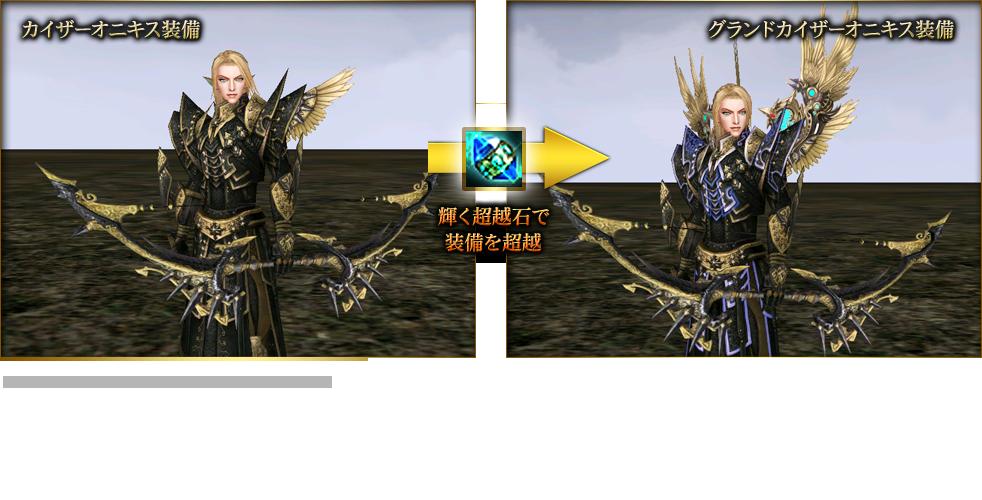 カイザーオニキス装備→輝く超越石で装備を超越→グランドカイザーオニキス装備